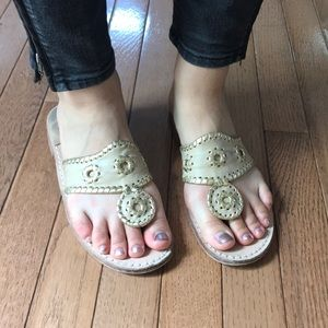 Size 7 gold and nude jack roger sandals